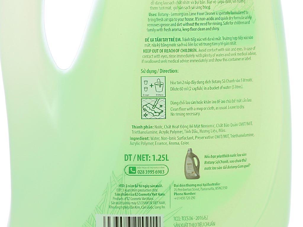 Nước lau sàn nhà Botany tinh dầu sả chanh chai 1.25 lít 3