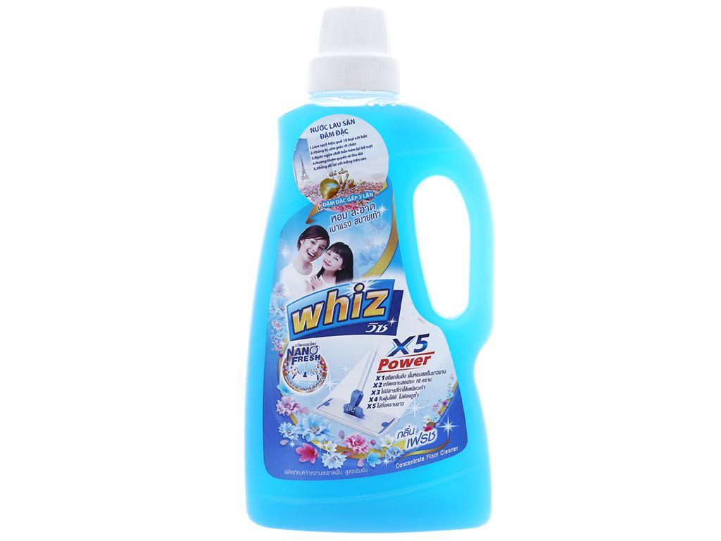 Nước lau sàn Whiz x5 power xanh chai 900ml 1