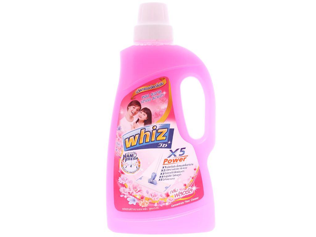 Nước lau sàn Whiz x5 power hồng chai 900ml 1