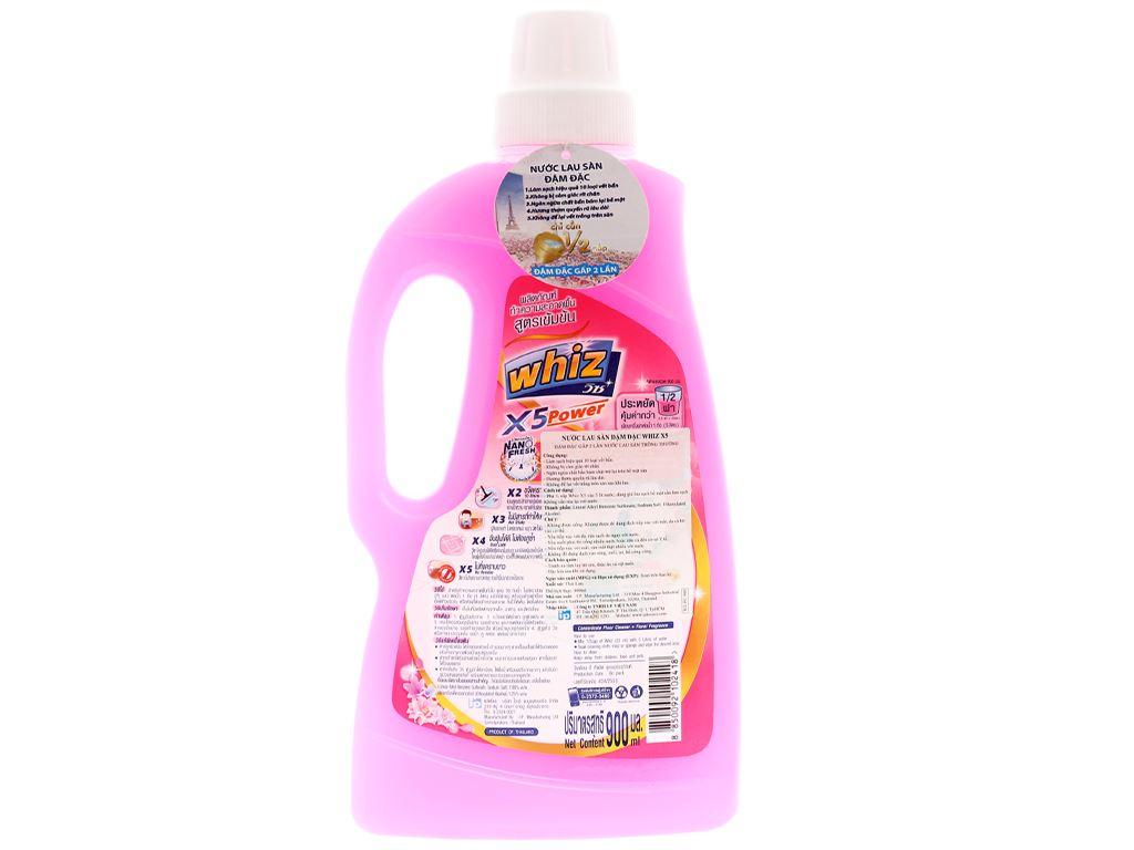 Nước lau sàn Whiz x5 power hồng chai 900ml 2