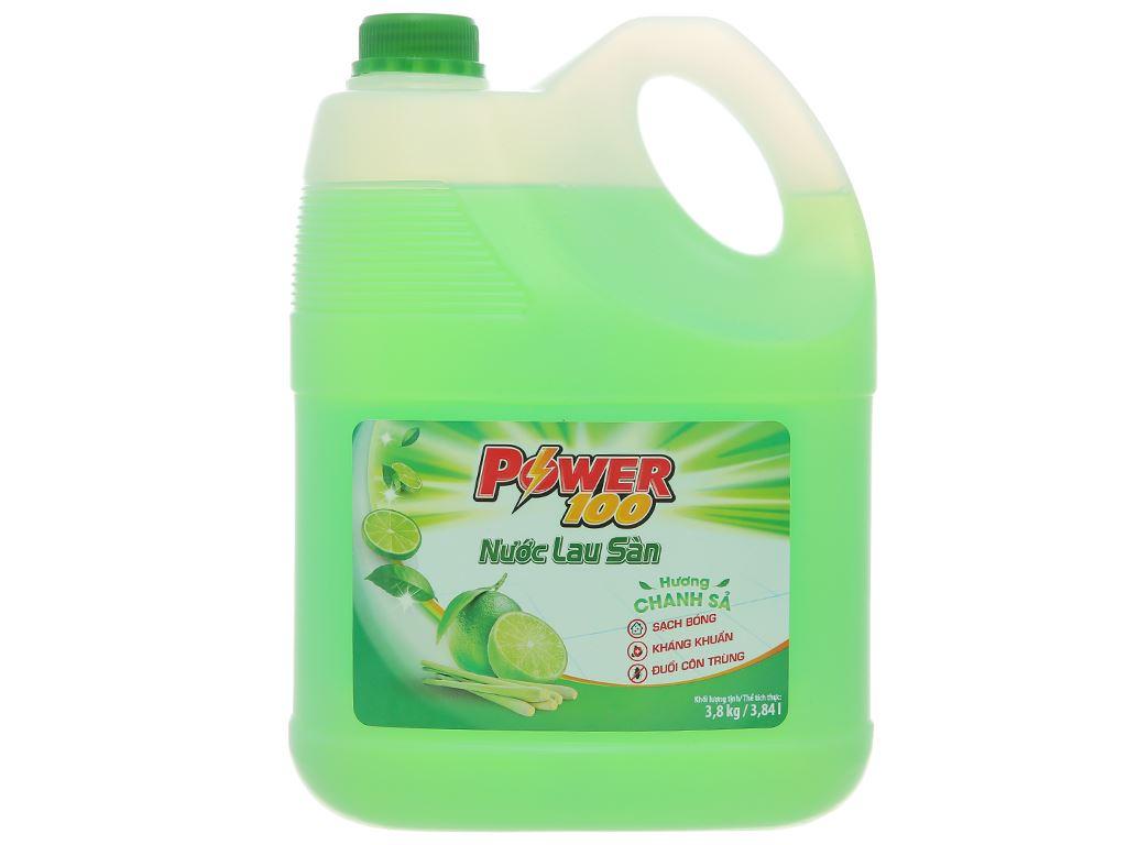 Nước lau sàn nhà POWER100 hương chanh sả can 3.8kg 2