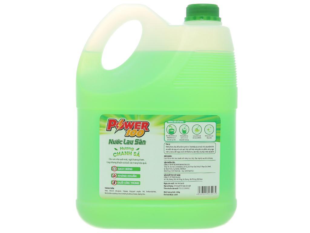Nước lau sàn nhà POWER100 hương chanh sả can 3.8kg 3