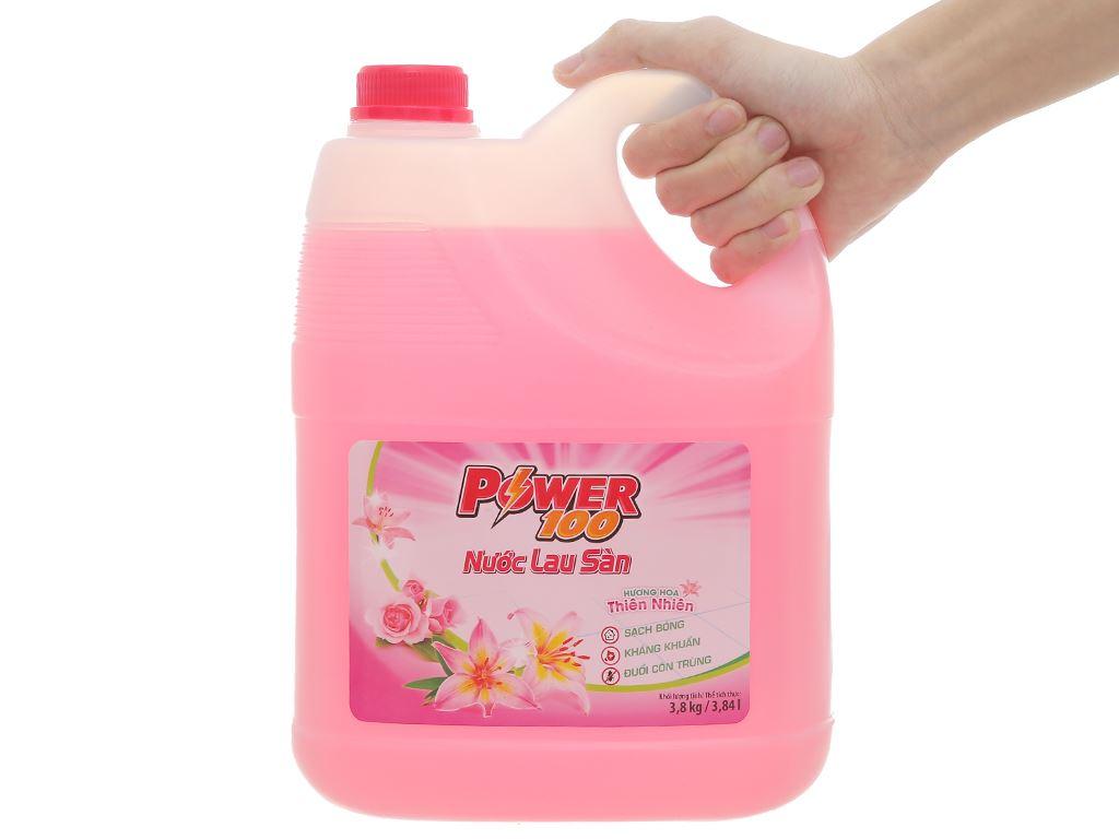 Nước lau sàn POWER100 hương hoa thiên nhiên can 3.8kg 5