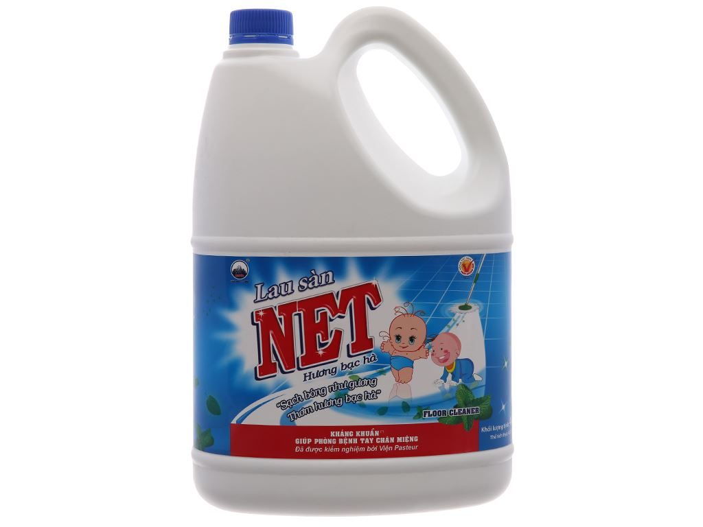 Nước lau sàn NET Kháng khuẩn hương Bạc Hà 4kg 2