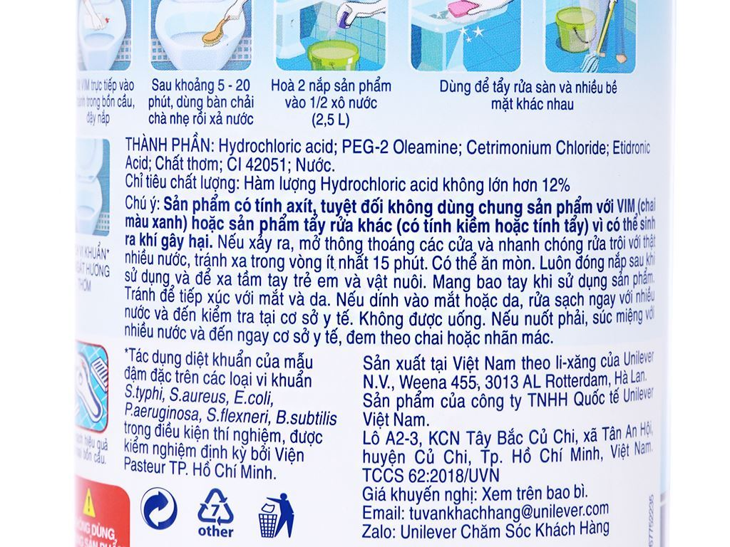 Gel tẩy bồn cầu và nhà tắm VIM trắng sáng hương chanh sả dịu mát 880ml 3