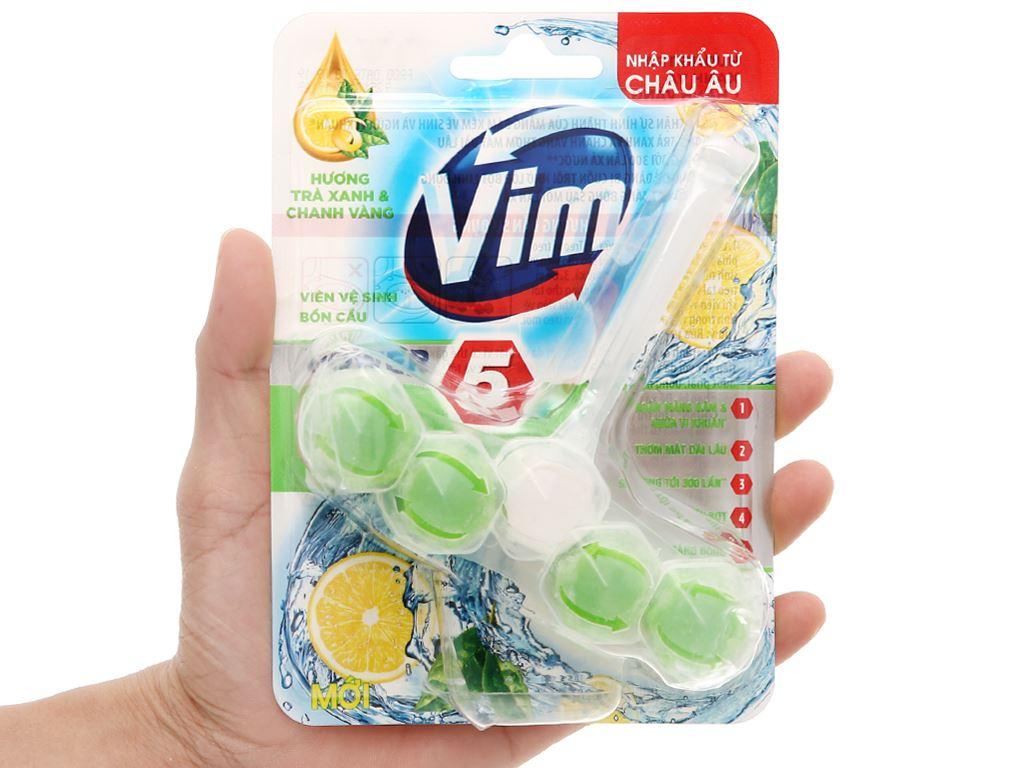 Viên vệ sinh bồn cầu VIM trà xanh và chanh vàng 55g 4