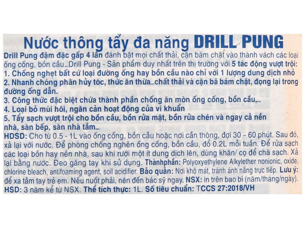 Nước thông tẩy đa năng Drill Pung chai 1 lít 3