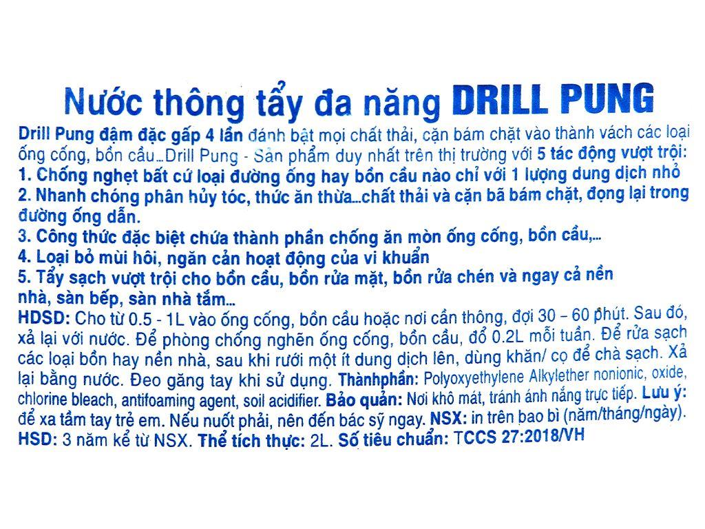 Nước thông tẩy đa năng Drill Pung chai 2 lít 3