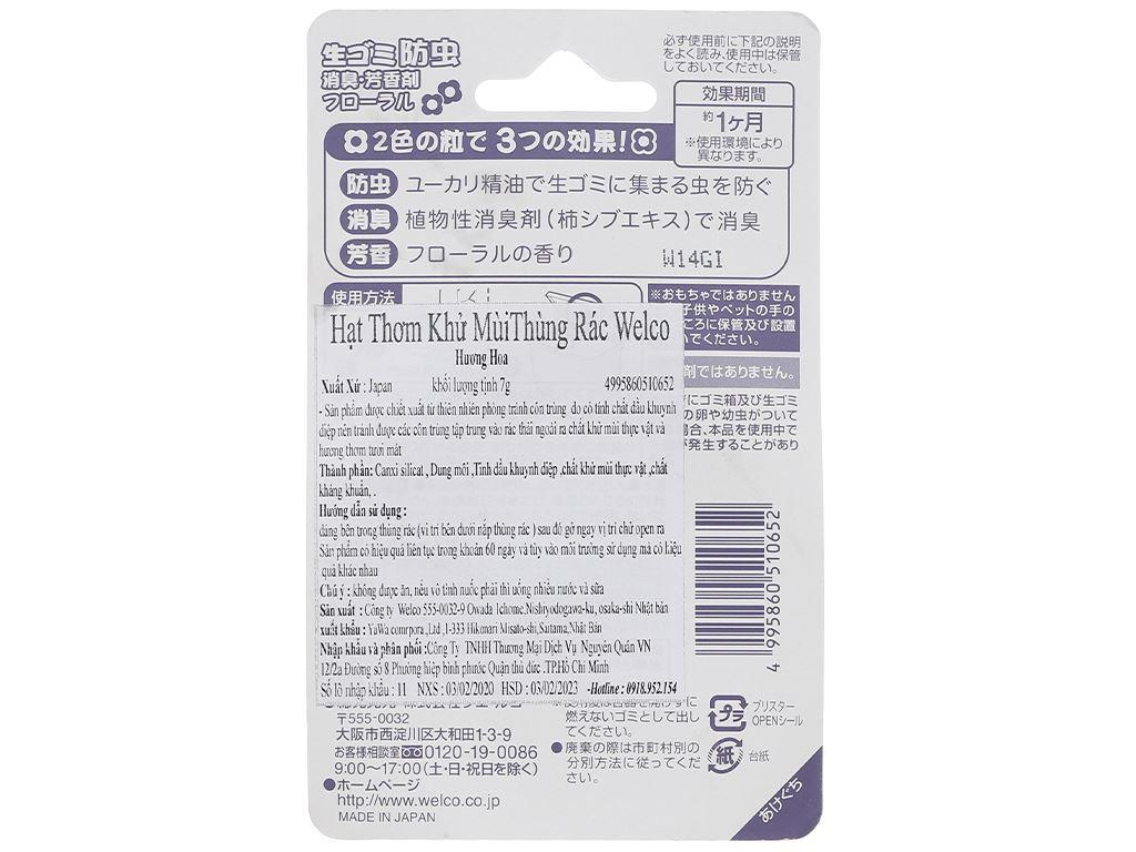 Hạt thơm khử mùi thùng rác Welco khử mùi kháng khuẩn gói 7g 2
