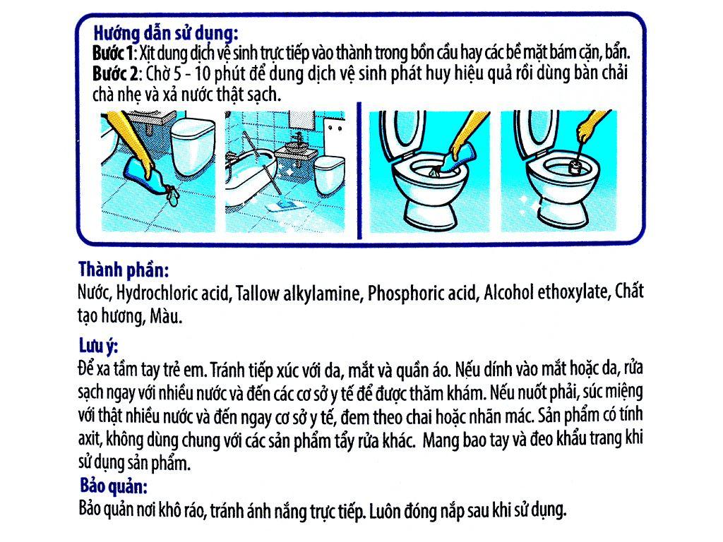 Nước tẩy bồn cầu & nhà tắm POWER100 hương bạc hà chai 900ml 3