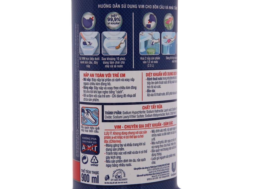 Nước tẩy bồn cầu & nhà tắm VIM diệt khuẩn 900ml 4
