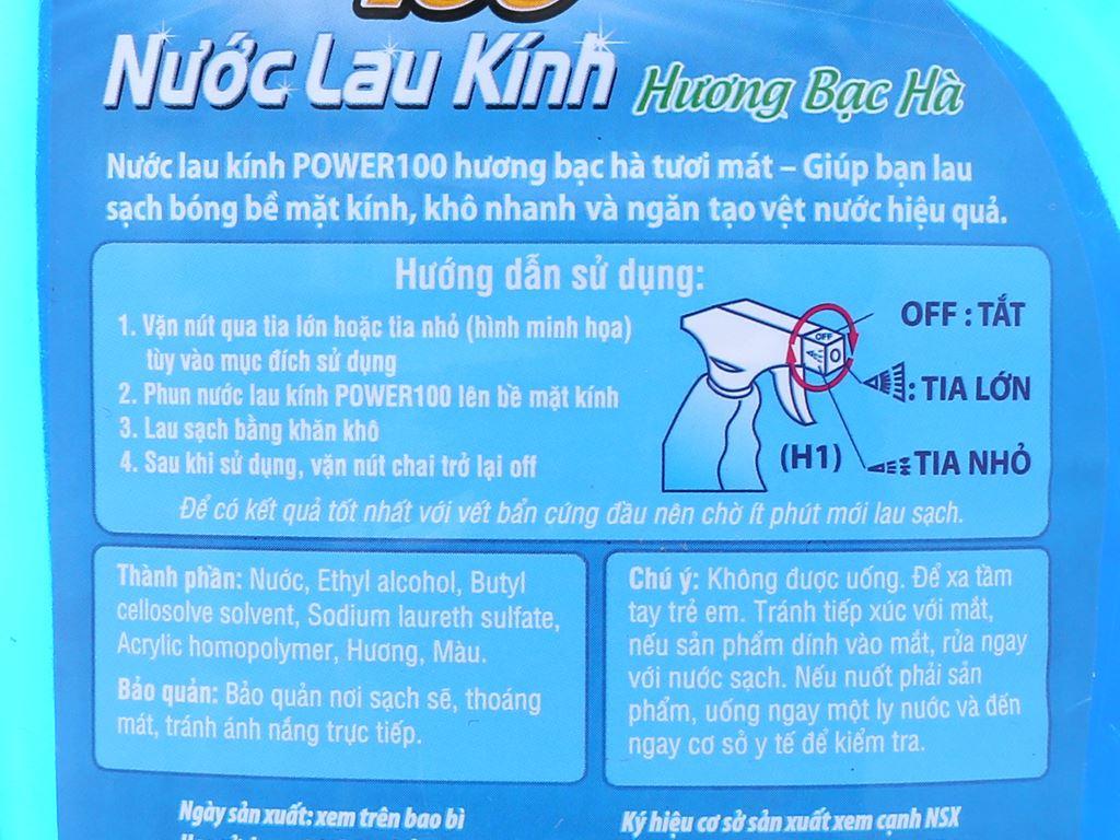 Nước lau kính Power100 hương bạc hà chai 580ml 3