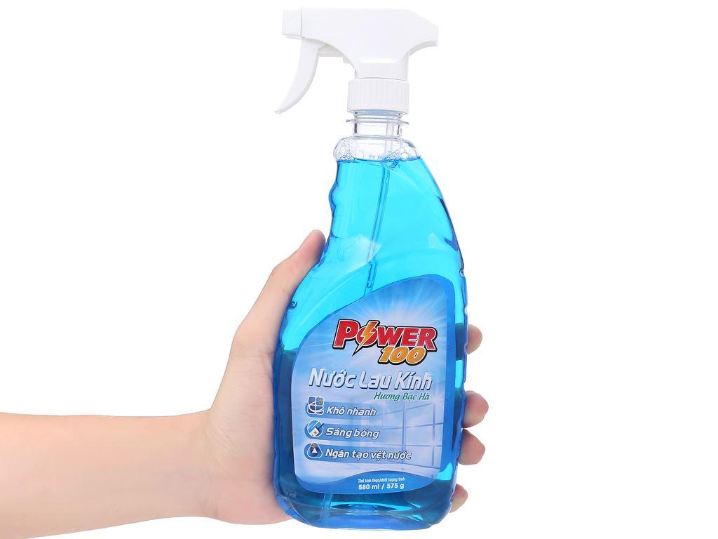 Nước lau kính Power100 hương bạc hà chai 580ml 4