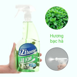 Nước lau kính IZI HOME hương bạc hà chai 650ml