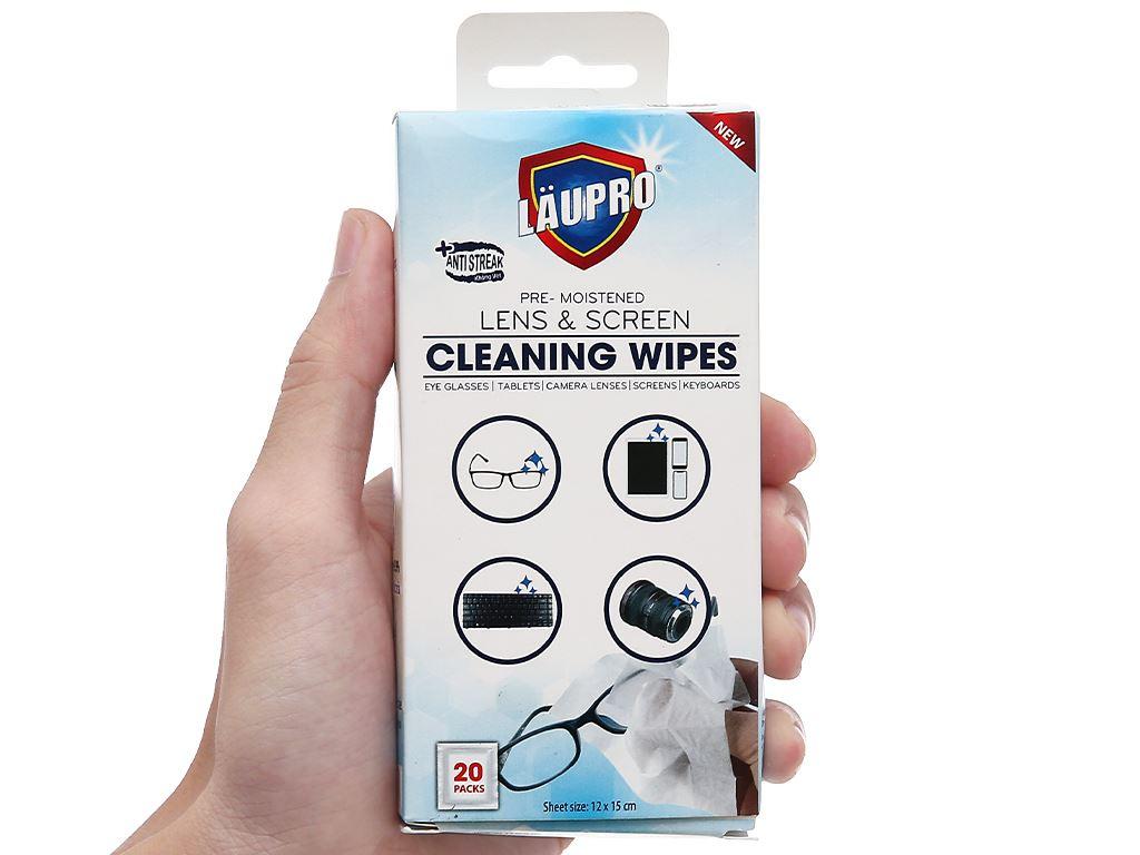 Nước lau kính LAUPRO dạng khăn ướt đa năng hộp 20 khăn 7
