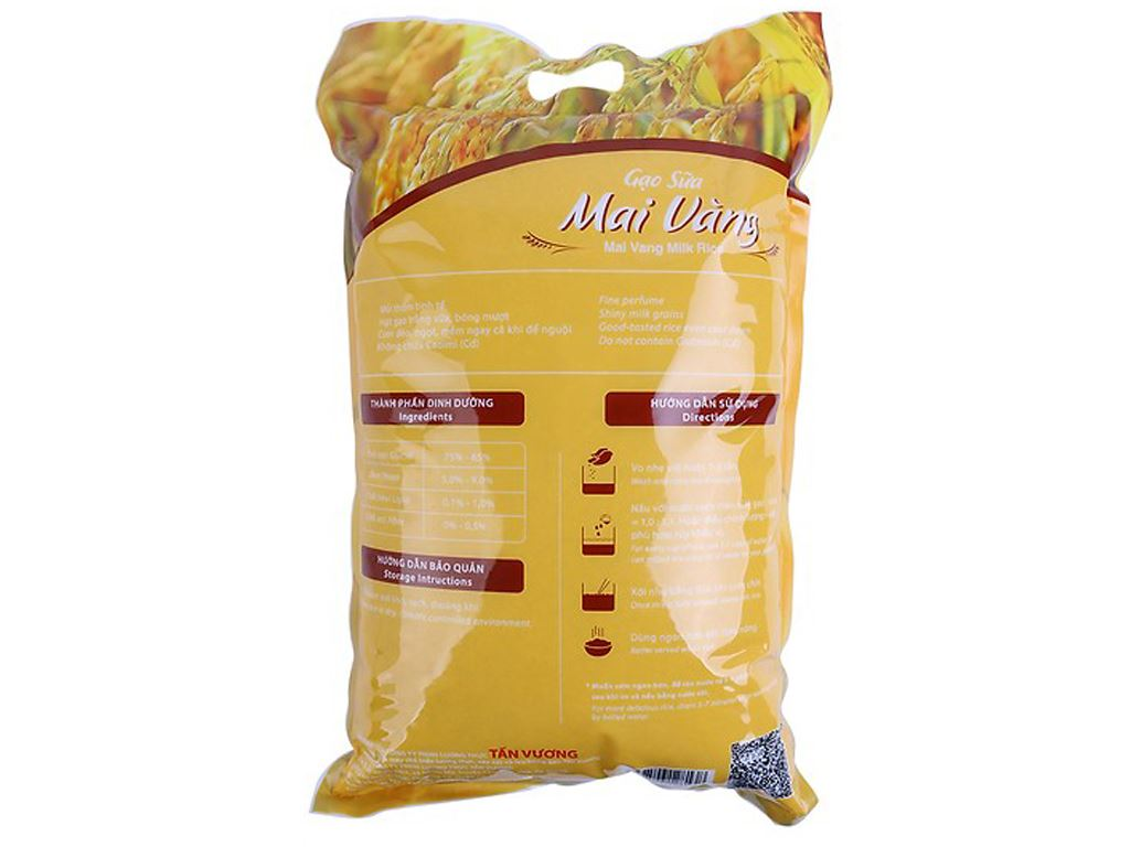Gạo sữa Tấn Vương Mai Vàng túi 5kg 3