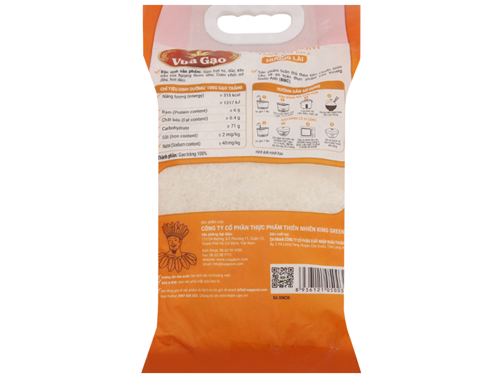Gạo thơm hương lài Vua Gạo túi 5kg 2