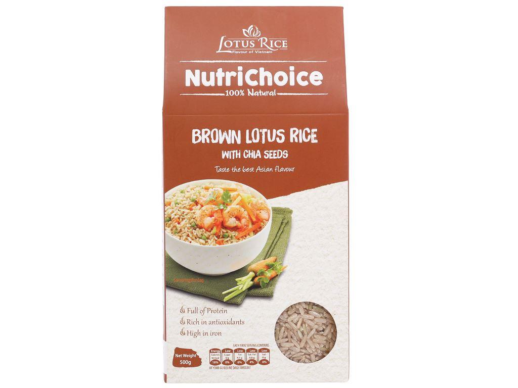 Gạo lứt Jasmine hương lài hạt chia Lotus Rice NutriChoice hộp 0,5kg 1