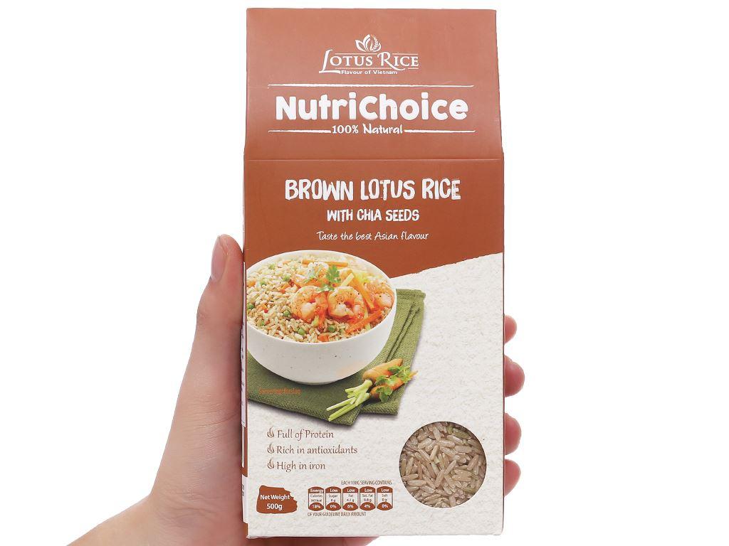 Gạo lứt Jasmine hương lài hạt chia Lotus Rice NutriChoice hộp 0,5kg 3