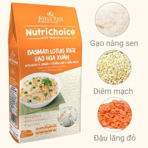 Gạo Hoa Xuân đậu lăng và diêm mạch Lotus Rice NutriChoice hộp 0,5kg