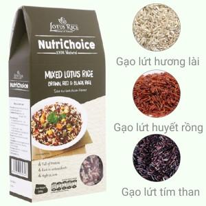 Gạo hỗn hợp Tấm Cám Lotus Rice NutriChoice hộp 0,5kg