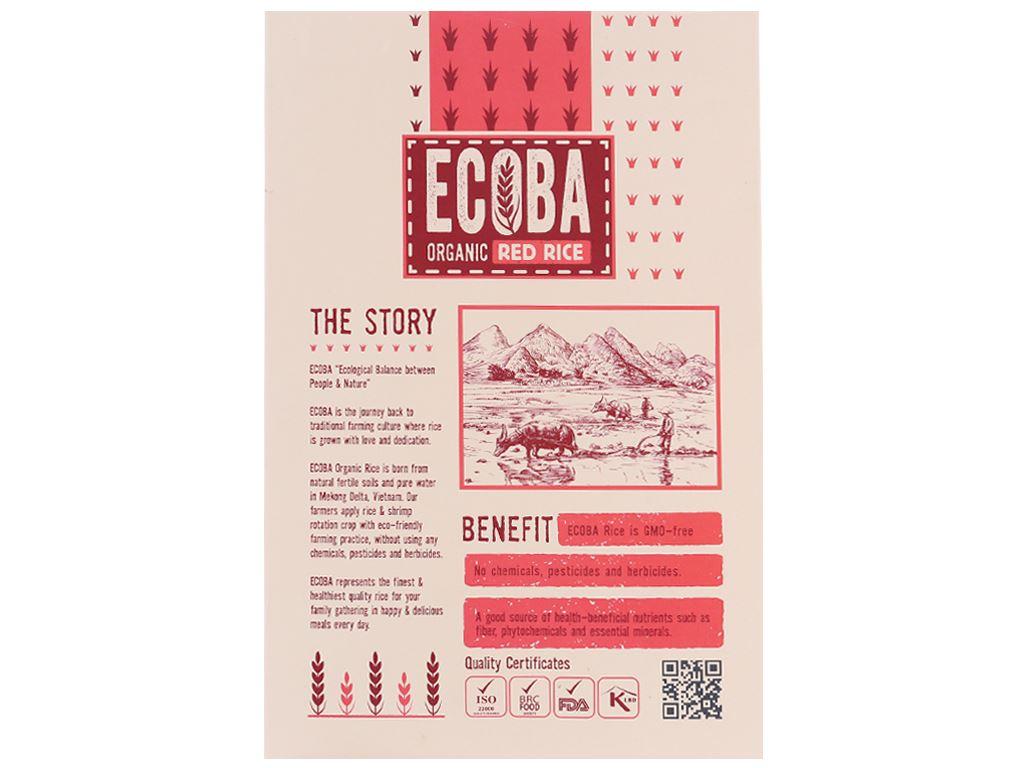 Gạo lứt hữu cơ Ecoba Huyết Rồng hộp 1kg 2