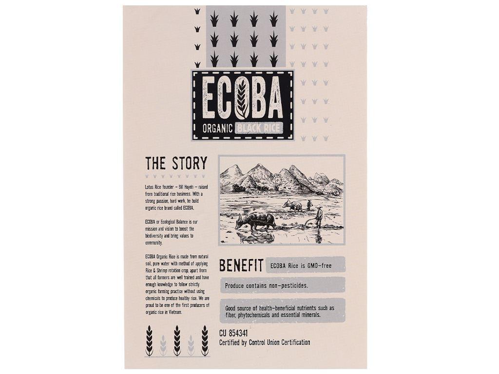 Gạo lứt đen hữu cơ Ecoba Huyền Mễ hộp 1kg 2