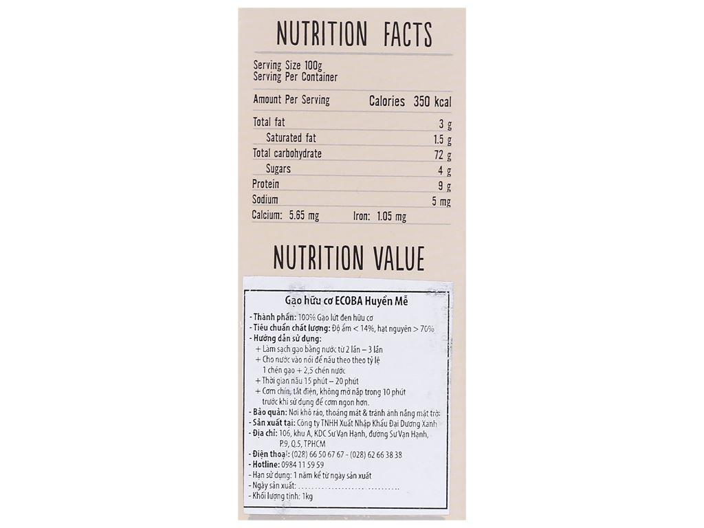 Gạo lứt đen hữu cơ Ecoba Huyền Mễ hộp 1kg 3