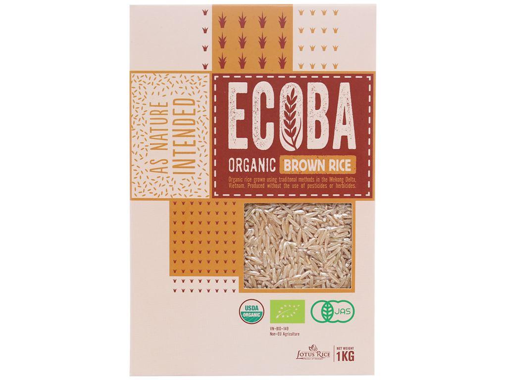 Gạo lứt nâu hữu cơ Ecoba Kim Mễ hộp 1kg 1