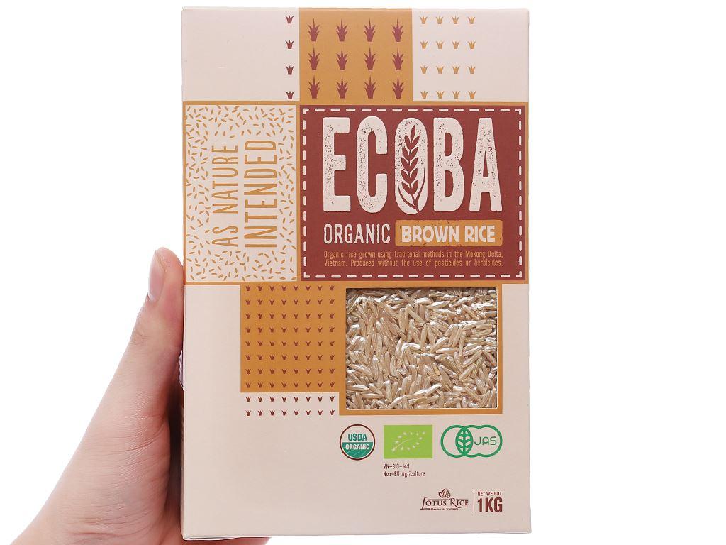 Gạo lứt nâu hữu cơ Ecoba Kim Mễ hộp 1kg 4