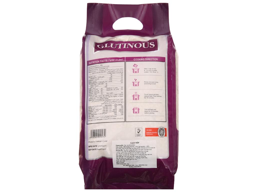 Gạo nếp dẻo thơm Lotus Rice Sen Vàng túi 2kg 3