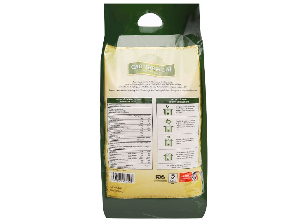 Gạo thơm lài Lotus Rice Jasmine túi 5kg 6