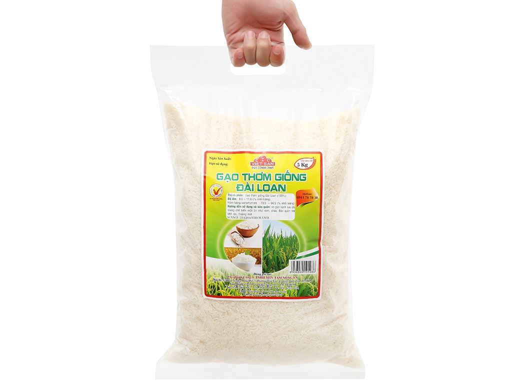 Gạo thơm giống Đài Loan Việt San túi 5kg 8