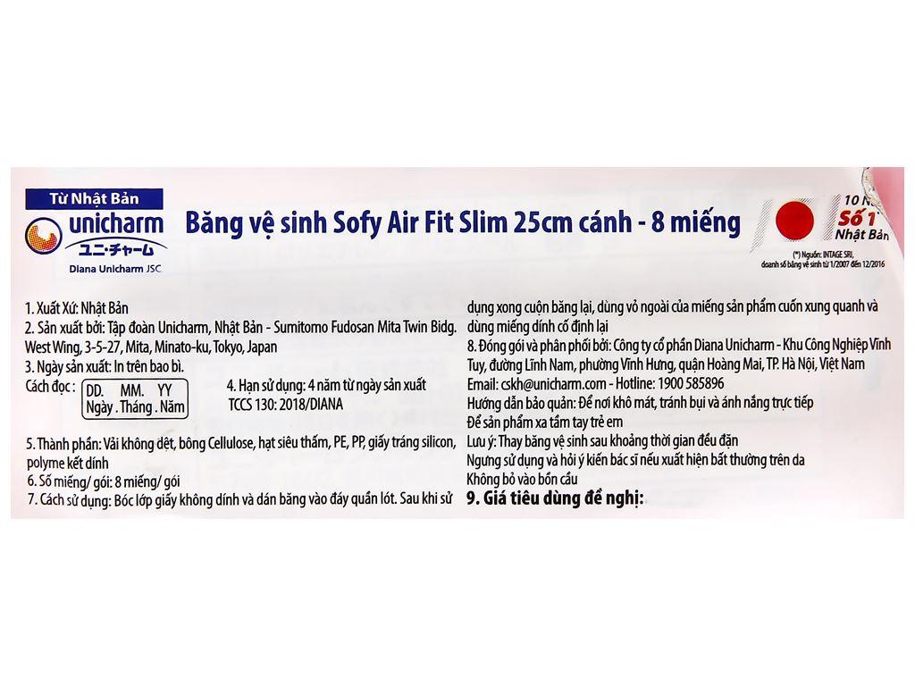 Băng vệ sinh Sofy Air Fit Slim siêu mỏng nhẹ cánh 8 miếng 25cm 9