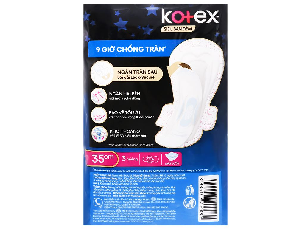 Băng vệ sinh ban đêm Kotex Style khô thoáng siêu mỏng 3 miếng 7