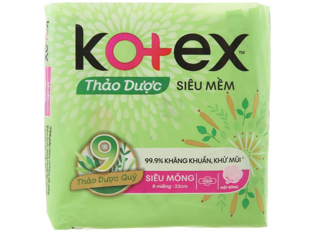 Băng vệ sinh Kotex thảo dược siêu mềm siêu mỏng cánh 8 miếng 6