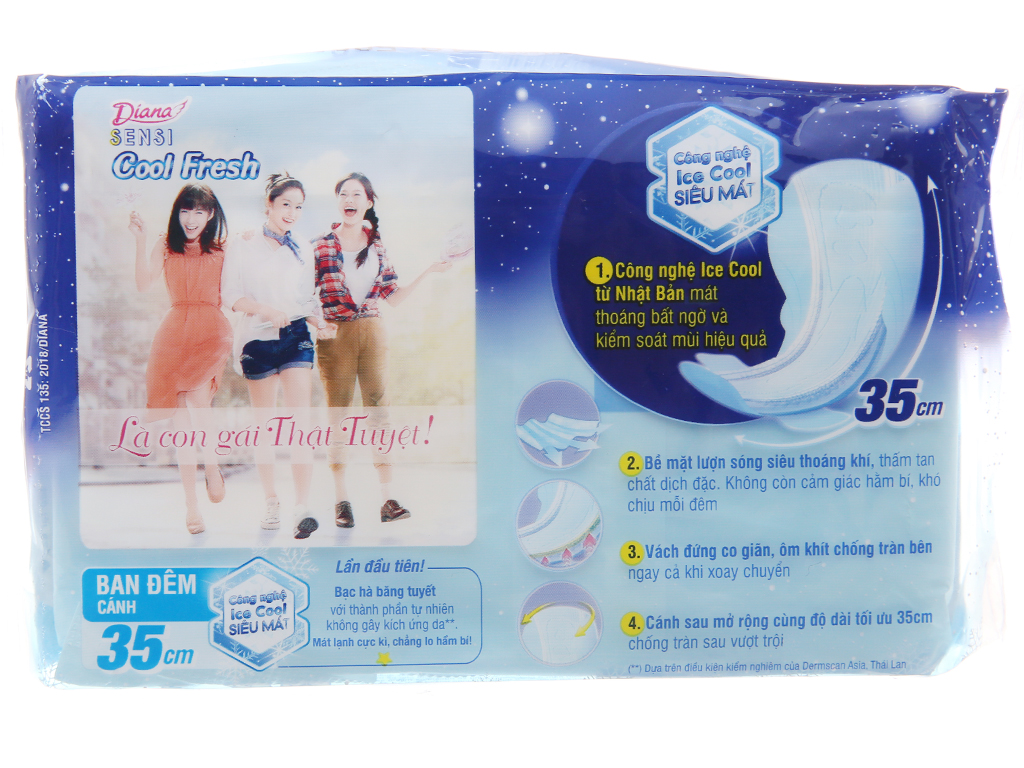 Băng vệ sinh ban đêm Diana Sensi Cool Fresh 3 miếng 4