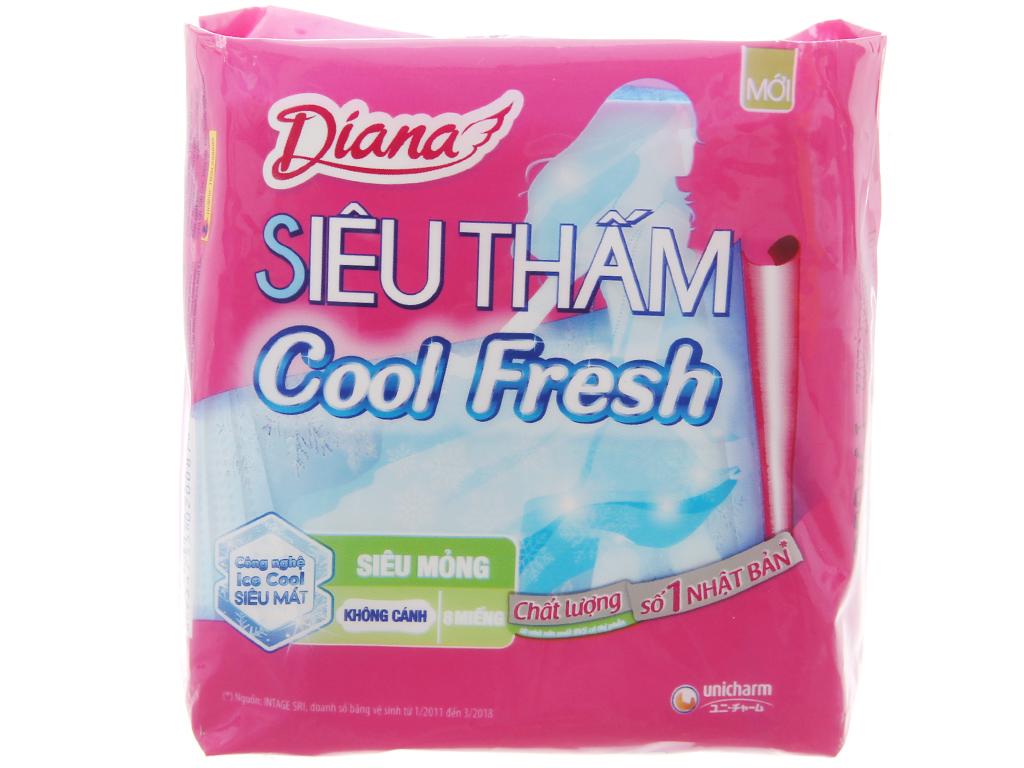 Băng vệ sinh Diana siêu thấm Cool Fresh siêu mỏng không cánh 8 miếng 2