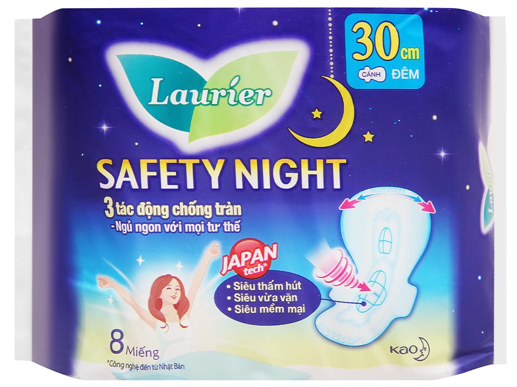 Băng vệ sinh ban đêm Laurier Safety Night siêu an toàn 8 miếng 30cm 9