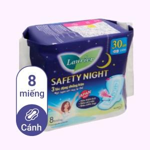 Băng vệ sinh ban đêm Laurier Safety Night siêu an toàn 8 miếng 30cm