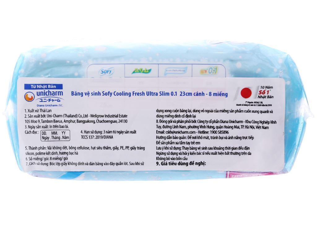 Băng vệ sinh Sofy Cooling Fresh Ultra Slim 0.1 siêu mỏng cánh 8 miếng 23cm 4