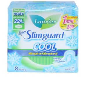 Băng vệ sinh Laurier Super Slimguard Cool siêu siêu mỏng có cánh 8 miếng