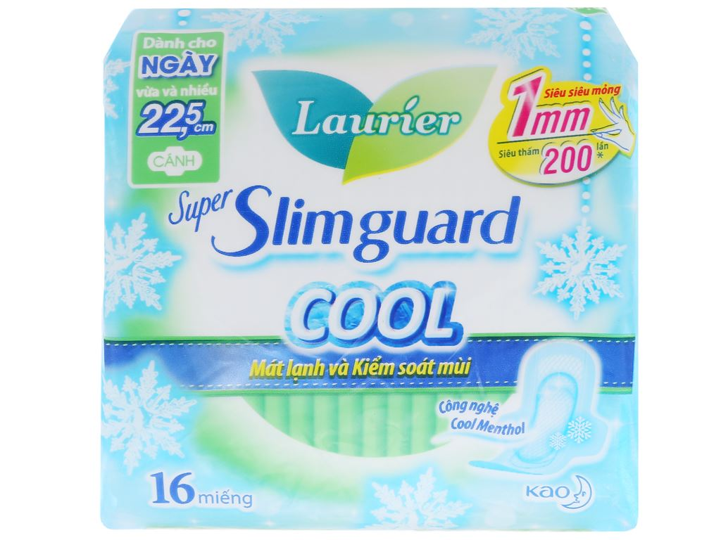Băng vệ sinh Laurier Super Slimguard Cool siêu siêu mỏng có cánh 16 miếng 1
