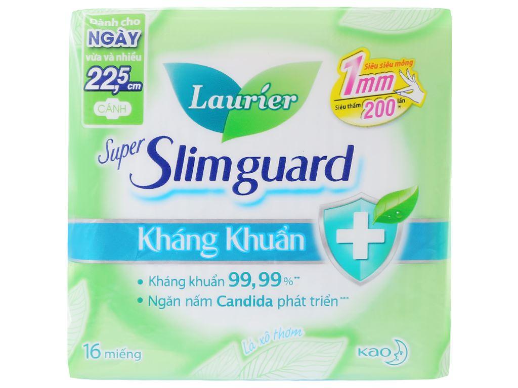 Băng vệ sinh Laurier Super Slimguard kháng khuẩn siêu siêu mỏng có cánh 16 miếng 1
