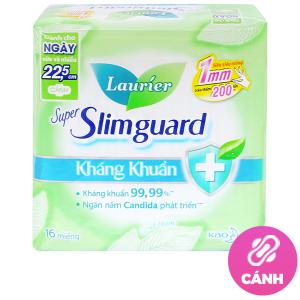 Băng vệ sinh Laurier Super Slimguard kháng khuẩn siêu siêu mỏng có cánh 16 miếng