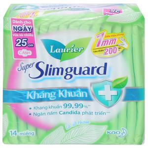 Băng vệ sinh Laurier Super Slimguard kháng khuẩn siêu siêu mỏng có cánh 14 miếng