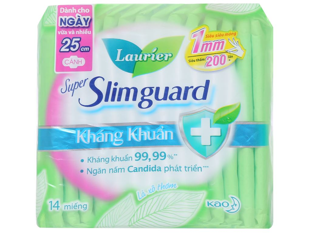 Băng vệ sinh Laurier Super Slimguard kháng khuẩn siêu siêu mỏng có cánh 14 miếng 1