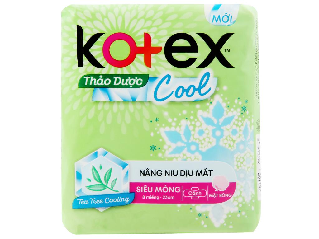 Băng vệ sinh Kotex thảo dược Cool siêu mỏng cánh 8 miếng 5