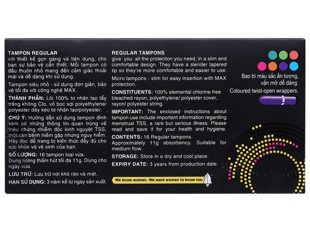 Băng vệ sinh Kotex Sport Tampons 16 miếng 2