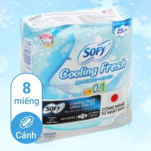 Băng vệ sinh Sofy Cooling Fresh Ultra Slim 0.1 siêu mỏng cánh 8 miếng 25cm